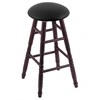 Oak Round Cushion Bar Stool with Turned Legs, Dark Cherry Finish, Black Vinyl Seat, and 360 Swivel