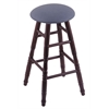 Holland Bar Stool Co. Oak Round Cushion Bar Stool with Turned Legs, Dark Cherry Finish, Rein Bay Seat, and 360 Swivel