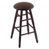 Oak Round Cushion Bar Stool with Turned Legs, Dark Cherry Finish, Rein Coffee Seat, and 360 Swivel