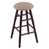 Oak Round Cushion Bar Stool with Turned Legs, Dark Cherry Finish, Rein Thatch Seat, and 360 Swivel