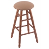 Holland Bar Stool Co. Oak Round Cushion Counter Stool with Turned Legs, Medium Finish, Allante Beechwood Seat, and 360 Swivel