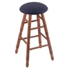 Oak Round Cushion Bar Stool with Turned Legs, Medium Finish, Allante Dark Blue Seat, and 360 Swivel