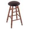 Holland Bar Stool Co. Oak Round Cushion Bar Stool with Turned Legs, Medium Finish, Allante Espresso Seat, and 360 Swivel