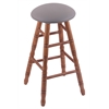 Holland Bar Stool Co. Oak Round Cushion Counter Stool with Turned Legs, Medium Finish, Allante Medium Grey Seat, and 360 Swivel