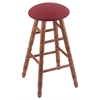 Holland Bar Stool Co. Oak Round Cushion Counter Stool with Turned Legs, Medium Finish, Allante Wine Seat, and 360 Swivel