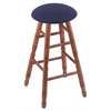 Oak Round Cushion Bar Stool with Turned Legs, Medium Finish, Axis Denim Seat, and 360 Swivel