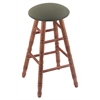 Holland Bar Stool Co. Oak Round Cushion Extra Tall Bar Stool with Turned Legs, Medium Finish, Axis Grove Seat, and 360 Swivel