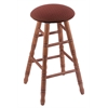 Oak Round Cushion Bar Stool with Turned Legs, Medium Finish, Axis Paprika Seat, and 360 Swivel