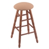 Holland Bar Stool Co. Oak Round Cushion Extra Tall Bar Stool with Turned Legs, Medium Finish, Axis Summer Seat, and 360 Swivel