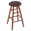 Holland Bar Stool Co. Oak Round Cushion Extra Tall Bar Stool with Turned Legs, Medium Finish, Axis Truffle Seat, and 360 Swivel