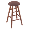 Oak Round Cushion Bar Stool with Turned Legs, Medium Finish, Axis Willow Seat, and 360 Swivel