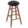 Oak Round Cushion Counter Stool with Turned Legs, Medium Finish, Black Vinyl Seat, and 360 Swivel