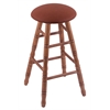 Oak Round Cushion Bar Stool with Turned Legs, Medium Finish, Rein Adobe Seat, and 360 Swivel