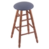 Oak Round Cushion Bar Stool with Turned Legs, Medium Finish, Rein Bay Seat, and 360 Swivel