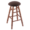 Oak Round Cushion Bar Stool with Turned Legs, Medium Finish, Rein Coffee Seat, and 360 Swivel