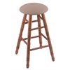 Oak Round Cushion Bar Stool with Turned Legs, Medium Finish, Rein Thatch Seat, and 360 Swivel