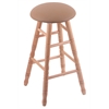 Holland Bar Stool Co. Oak Round Cushion Bar Stool with Turned Legs, Natural Finish, Allante Beechwood Seat, and 360 Swivel
