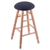 Holland Bar Stool Co. Oak Round Cushion Counter Stool with Turned Legs, Natural Finish, Allante Dark Blue Seat, and 360 Swivel