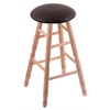Oak Round Cushion Bar Stool with Turned Legs, Natural Finish, Allante Espresso Seat, and 360 Swivel