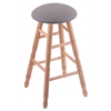 Holland Bar Stool Co. Oak Round Cushion Bar Stool with Turned Legs, Natural Finish, Allante Medium Grey Seat, and 360 Swivel