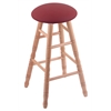 Oak Round Cushion Bar Stool with Turned Legs, Natural Finish, Allante Wine Seat, and 360 Swivel
