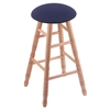 Holland Bar Stool Co. Oak Round Cushion Bar Stool with Turned Legs, Natural Finish, Axis Denim Seat, and 360 Swivel