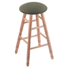 Oak Round Cushion Bar Stool with Turned Legs, Natural Finish, Axis Grove Seat, and 360 Swivel