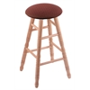 Oak Round Cushion Bar Stool with Turned Legs, Natural Finish, Axis Paprika Seat, and 360 Swivel