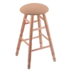 Oak Round Cushion Bar Stool with Turned Legs, Natural Finish, Axis Summer Seat, and 360 Swivel