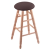 Oak Round Cushion Bar Stool with Turned Legs, Natural Finish, Axis Truffle Seat, and 360 Swivel