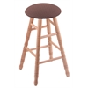 Holland Bar Stool Co. Oak Round Cushion Bar Stool with Turned Legs, Natural Finish, Axis Willow Seat, and 360 Swivel