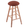 Oak Round Cushion Bar Stool with Turned Legs, Natural Finish, Rein Adobe Seat, and 360 Swivel