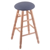Holland Bar Stool Co. Oak Round Cushion Extra Tall Bar Stool with Turned Legs, Natural Finish, Rein Bay Seat, and 360 Swivel