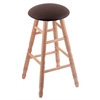 Holland Bar Stool Co. Oak Round Cushion Bar Stool with Turned Legs, Natural Finish, Rein Coffee Seat, and 360 Swivel