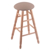Oak Round Cushion Bar Stool with Turned Legs, Natural Finish, Rein Thatch Seat, and 360 Swivel