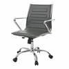 Pastel Furniture Highbore Office Chair in Chrome and PU Gray, PU Gray