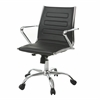 Highbore Office Chair in Chrome and PU Black, Black
