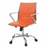 Highbore Office Chair in Chrome and PU Orange, Orange