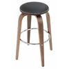 Pastel Furniture Yeri Backless Stool in Chrome/Walnut Veneer and PU Black, PU Black