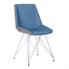 Pandora Chair in Chrome finish with Walnut wood and Blue Fabric upholstery