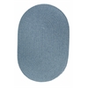 Solid Blue Bonnet Wool 7X9 Oval