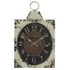Dasha Clock, Aged Cream Finish with Rustic Brown Undertones, Under Glass