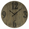Mahdis Clock, Light Brown Wood Finish with Worn Gray Numbers