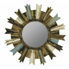 Cooper Classics Shiva Mirror, Painted Natural Wood Finish with Black, Green, Light Blue and White Highlights, Beveled Mirror, Finish Will Vary