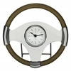 Cooper Classics Jonathan Table Clock, Silver and Aged Genuine Blonde Leather Finish, Under Glass