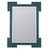 Cooper Classics Sanabel Mirror, Turquoise Finish with High Gloss White Frame, Beveled Mirror