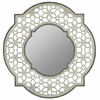 Cooper Classics Clarkson Mirror, Antique White Finish with Silver Accents