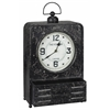 Patton Table Clock, Worn Black Finish with Red Undertones, Under Glass