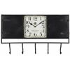 Norwood Clock, Black Metal Finish with Worn Black Undertones, Under Glass, Opening Doors on Each Side