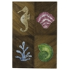 Oray Wall Hanging, Brown Veneer with Colored Butterfly Leaf Accents